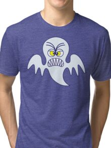 Scary Halloween Ghost Emoticon Tri-blend T-Shirt