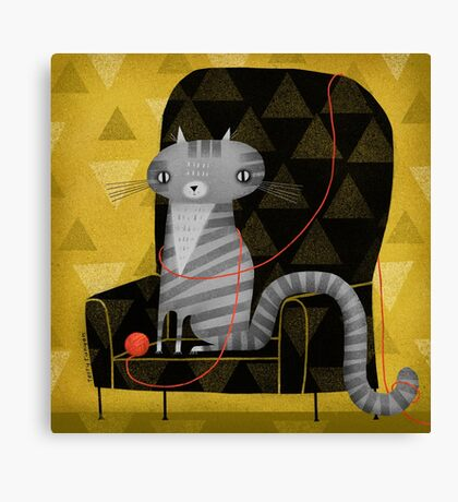 SEATED GRAY TABBY Canvas Print