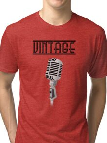 Vintage Microphone | with text Tri-blend T-Shirt