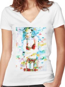 WATERCOLOR WOMAN.17 Women's Fitted V-Neck T-Shirt