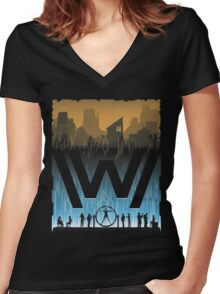 Go Between Worlds Women's Fitted V-Neck T-Shirt