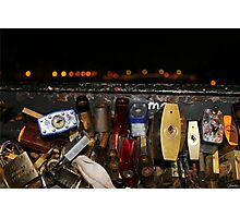 Night at the Love Lock Bridge Photographic Print