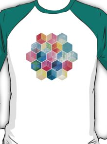 Crystal Bohemian Honeycomb Cubes - colorful hexagon pattern T-Shirt
