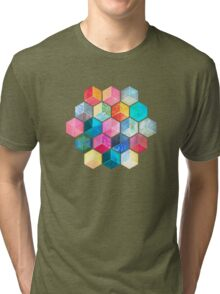 Crystal Bohemian Honeycomb Cubes - colorful hexagon pattern Tri-blend T-Shirt