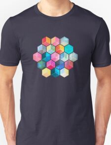 Crystal Bohemian Honeycomb Cubes - colorful hexagon pattern Unisex T-Shirt