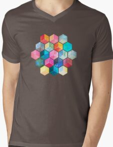 Crystal Bohemian Honeycomb Cubes - colorful hexagon pattern Mens V-Neck T-Shirt