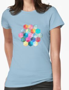 Crystal Bohemian Honeycomb Cubes - colorful hexagon pattern Womens Fitted T-Shirt