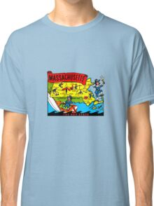 Massachusetts State Map Vintage Travel Decal Classic T-Shirt