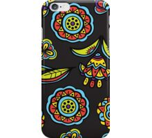 Floral pattern on black iPhone Case/Skin