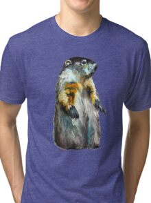 Winter Woodchuck (aka Groundhog) Tri-blend T-Shirt