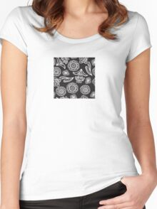 Black and white floral pattern Women's Fitted Scoop T-Shirt