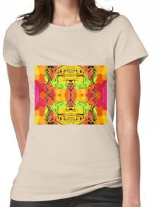 skull head with yellow green red and orange background Womens Fitted T-Shirt