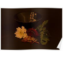 Still Life Japanese Bowl and Flowers Poster