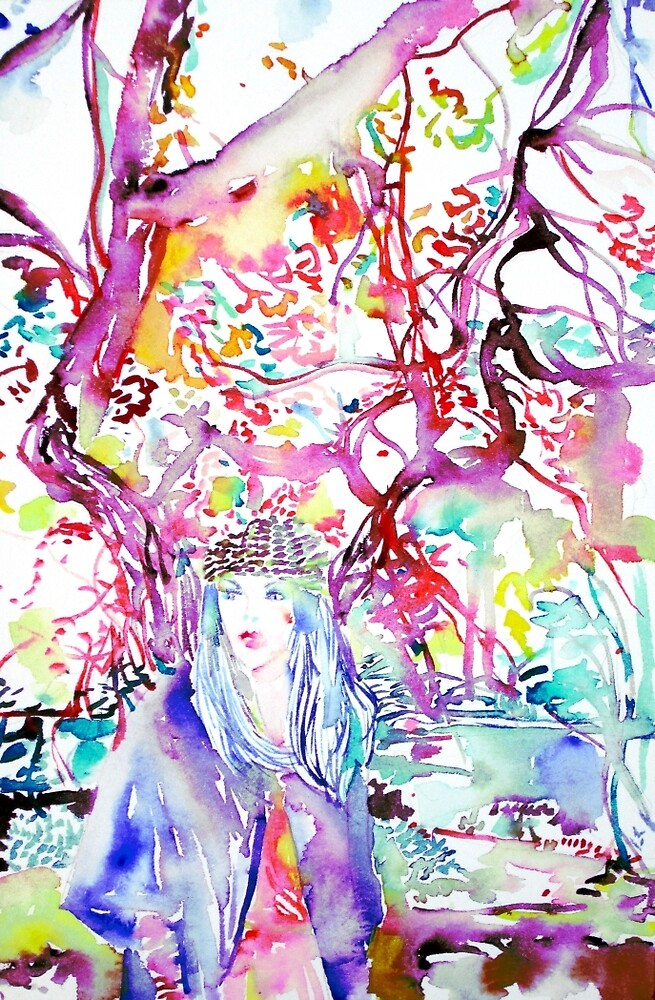 AUTUMN GIRL under a TREE- watercolor painting by lautir