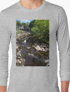 Waterfall in Beautiful Yorkshire Long Sleeve T-Shirt