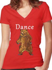Retro Upright Standing Bear Women's Fitted V-Neck T-Shirt