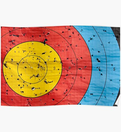 Archery target close up with many arrow holes in  Poster