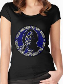 Sitting Bull Blue, Earth Does Not Belong To Man Women's Fitted Scoop T-Shirt