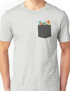 Pokemon - squirtle, bulbasaur and charmander in pocket Unisex T-Shirt