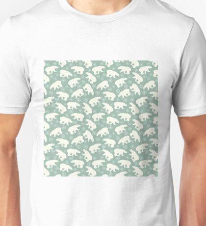 Polar Bears and Snowflakes Pattern Unisex T-Shirt