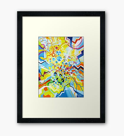 Birth of the Circle - Abstract Acrylic Canvas Painting Framed Print