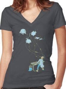 Mad Animal Pianist - Digital Art + Painting Women's Fitted V-Neck T-Shirt