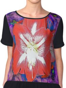 Red Amaryllis Chiffon Top