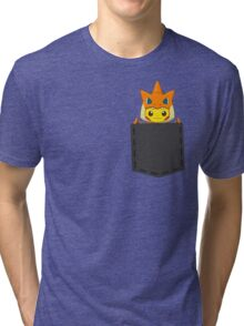 Pokemon - Pikachu with Charizard cosplay in pocket Tri-blend T-Shirt