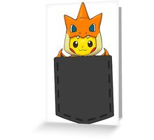 Pokemon - Pikachu with Charizard cosplay in pocket Greeting Card