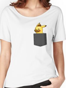 Pokemon - Pikachu with mustache in pocket Women's Relaxed Fit T-Shirt