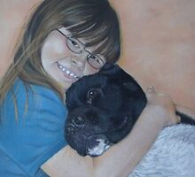 Cute black and white akita cuddling best friend by pollywolly