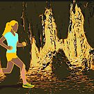Running through the caves lithograph by Mark Malinowski