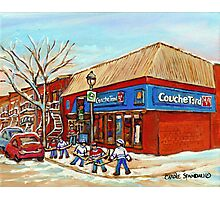 BEST SELLING DEPANNEUR PRINTS COUCHE TARD VERDUN MONTREAL WINTER HOCKEY PAINTING Photographic Print