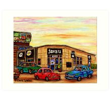 CAFE JAVA U CAR WASH AND DEPANNEUR MONTREAL SCENES Art Print