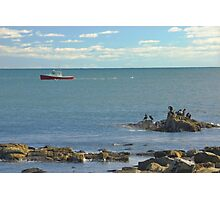 Lobster Boat Working off Rocky Seawall Beach Acadia National Park Photographic Print