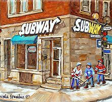 MONTREAL BEST SELLING PRINTS SUBWAY'S RESTAURANT VERDUN HOCKEY STREET SCENE by Carole  Spandau