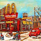 MCDONALD'S RESTAURANT BEST SELLING MONTREAL PRINT VERDUN WINTER HOCKEY PAINTING by Carole  Spandau