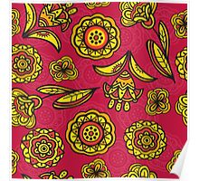 Red floral pattern Poster