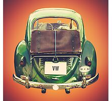 Vintage Volkswagen Beetle With Suitcase Photographic Print