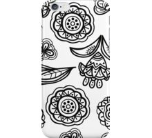 Black and white floral pattern iPhone Case/Skin