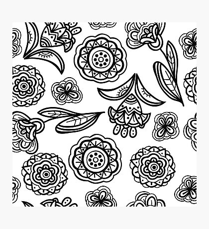 Black and white floral pattern Photographic Print