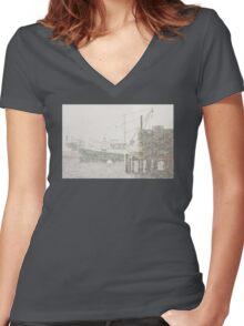Bass Harbor in Heavy Snowstorm, Mount Desert Island, Maine Women's Fitted V-Neck T-Shirt