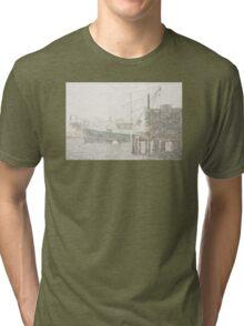 Bass Harbor in Heavy Snowstorm, Mount Desert Island, Maine Tri-blend T-Shirt