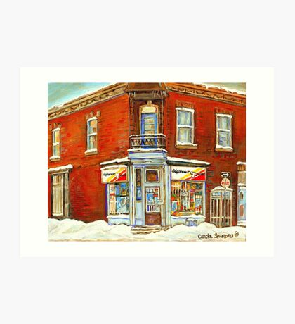 BEST SELLING VERDUN MONTREAL PRINT DEPANNEUR SEPT JOURS VERDUN SNOW SCENE PAINTING Art Print