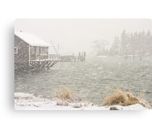 Heavy Snowstorm in Bass Harbor, Mount Desert island, Maine Canvas Print