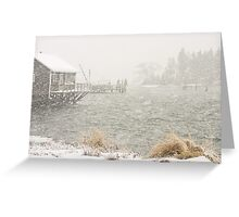Heavy Snowstorm in Bass Harbor, Mount Desert island, Maine Greeting Card