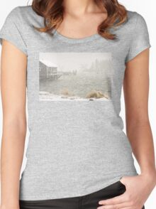 Heavy Snowstorm in Bass Harbor, Mount Desert island, Maine Women's Fitted Scoop T-Shirt