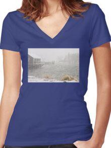 Heavy Snowstorm in Bass Harbor, Mount Desert island, Maine Women's Fitted V-Neck T-Shirt