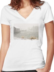 Heavy Snowstorm in Bass Harbor, Mount Desert island, Maine Women's Fitted V-Neck T-Shirt