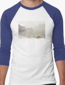 Heavy Snowstorm in Bass Harbor, Mount Desert island, Maine Men's Baseball ¾ T-Shirt
